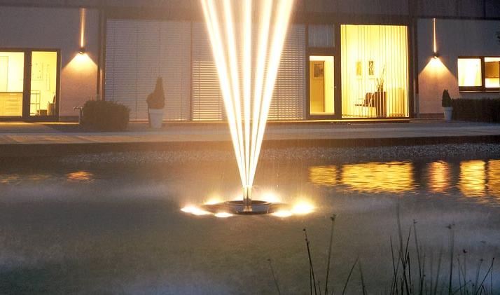 Een sprookjesachtige vijver met vijververlichting - Wet Dreams